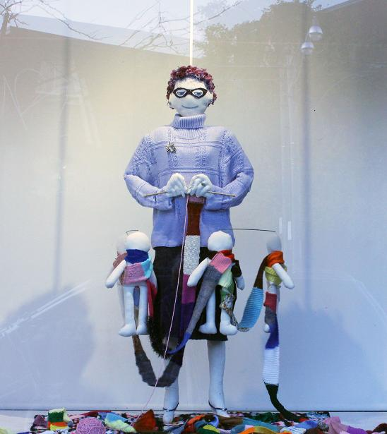 "Thanks, Ma; Kinetic puppet installation, Mon Ton Gallery; mixed media; 66""h x 72""w x 48""d; 2011"