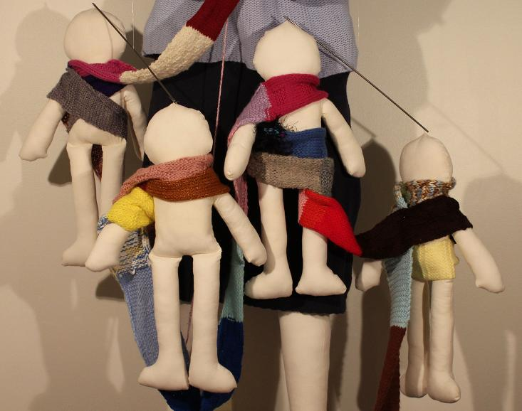 "Thanks, Ma (detail); Kinetic puppet installation, mixed media; 66""h x 72""w x 48""d; 2011"