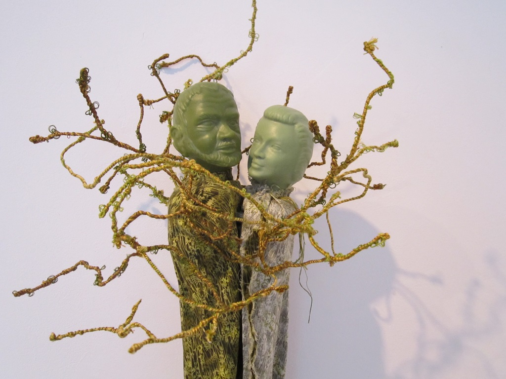 "Is this an island? (detail); Cast rubber, fabric, wire, thread; 63""h x 8""w x 12""d; 2012"