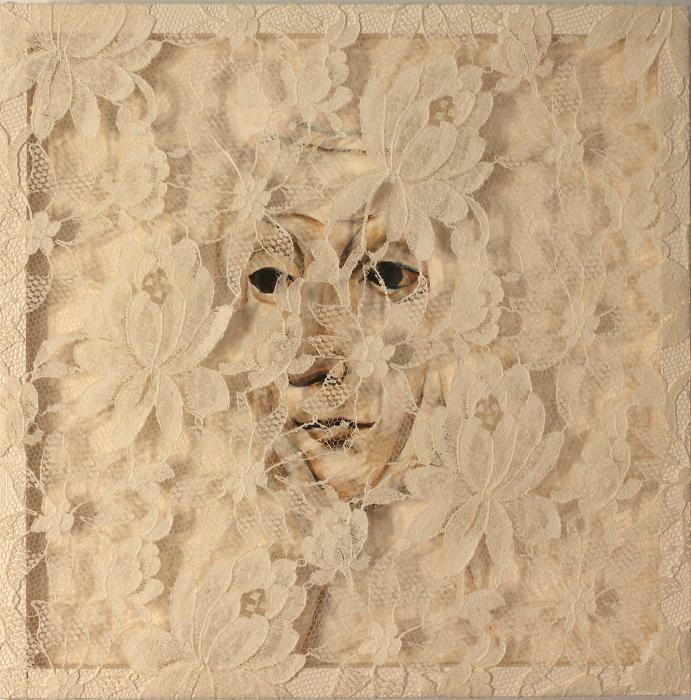 "Catherine; Acrylic on panel, fabric; 12""h x 12""w x 2""d; 2011"