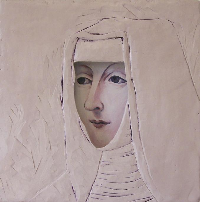 "Nun; Acrylic on panel, carved encaustic and oil on panel; 12""h x 12""w x 1.75""d; 2010"