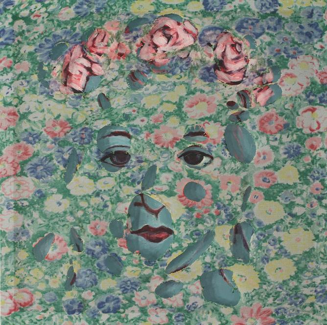 "Theresa; Acrylic on panel, fabric; 12""h x 12""w x 2""d; 2011"