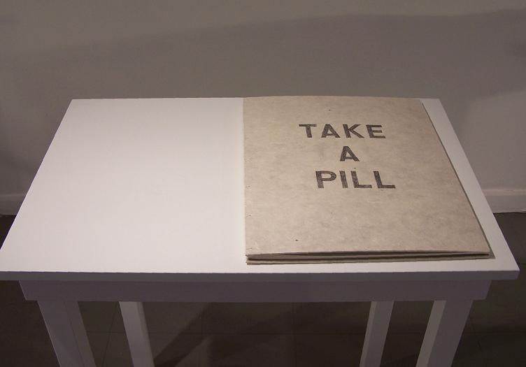 """Take a Pill; Graphite on paper; 19""""h x 15""""w x .75""""d; 2006"""