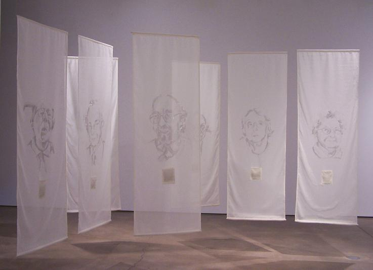 "Re-visible; Grimbsy Gallery; Graphite & ink on fabric, burnt sections, paper; Each panel 84""h x 30""w;2006"