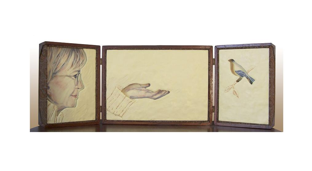 "I see you, Marguerite; Found box, acrylic on panel, carved encaustic and oil on panel,fabric; 12""h x 28""w x 3""d; 2010"
