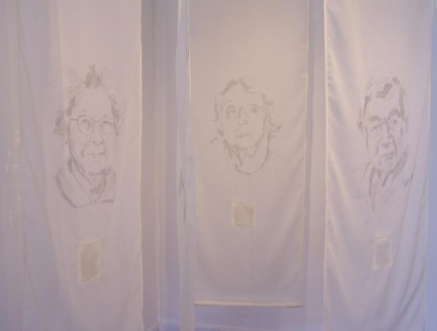 "Re-visible; Loop Gallery; Graphite & ink on fabric, burnt sections, paper; Each panel 84""h x 30""w; 2006"