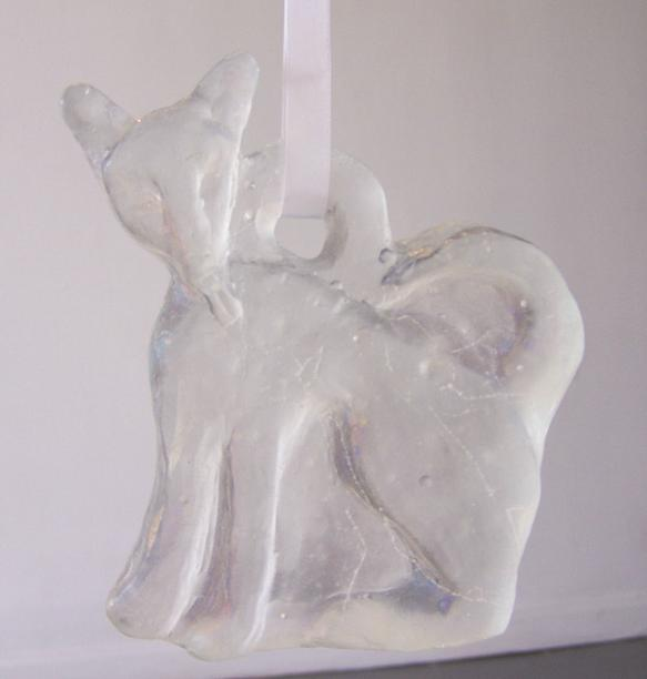"""please thank you (detail); kiln cast glass, ribbon, beads; each piece no larger than 7"""" x 7"""" x .5"""";2005"""