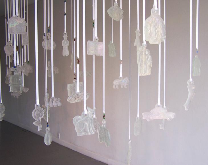 "please thank you (partial installation); kiln cast glass, ribbon, beads; install. area 16"" x 4""; 2005"