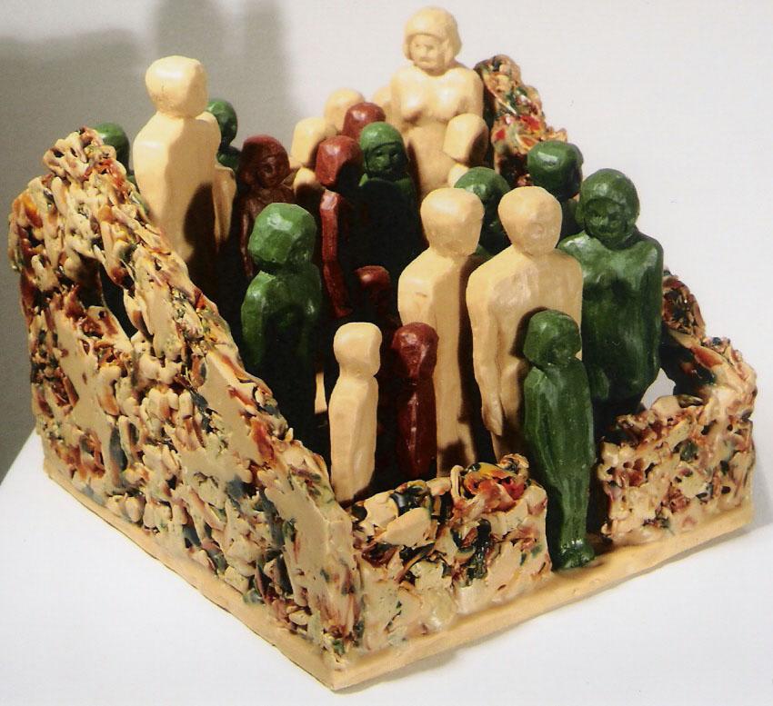 """Safe House #15; Encaustic shavings, cast encaustic on wood; 7""""h x 7.5""""w x 8.5""""d; 2004"""
