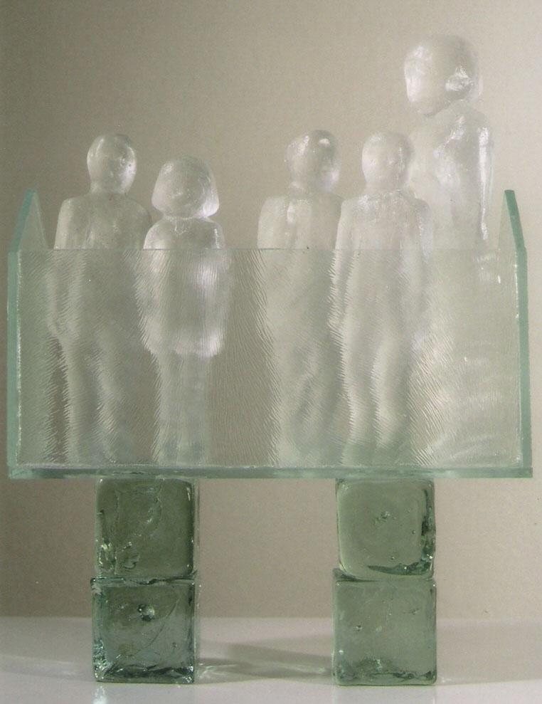 "Safe House #27; Kiln cast glass, sheet glass, recycled glass cubes; 7.75""h x 6""w x 2""d; 2004"