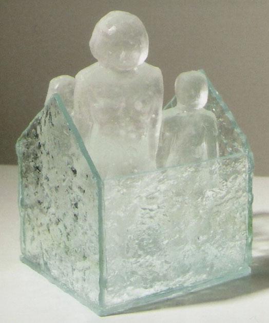 "Safe House #21; Kiln cast glass, sheet glass; 5.25""h x 3.25""w x 3""d; 2004"