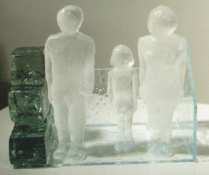 "Safe House #20; Kiln cast glass, sheet glass, recycled glass cubes; 5.25""h x 6""w x 3.5""d; 2004"