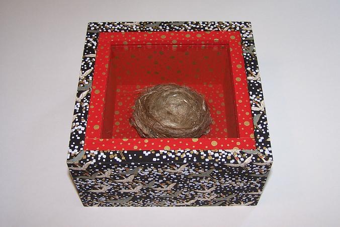 """Treasure box; Bird nest, wood, paper, glass; 7""""h x 7""""w x 4""""d; 2007"""