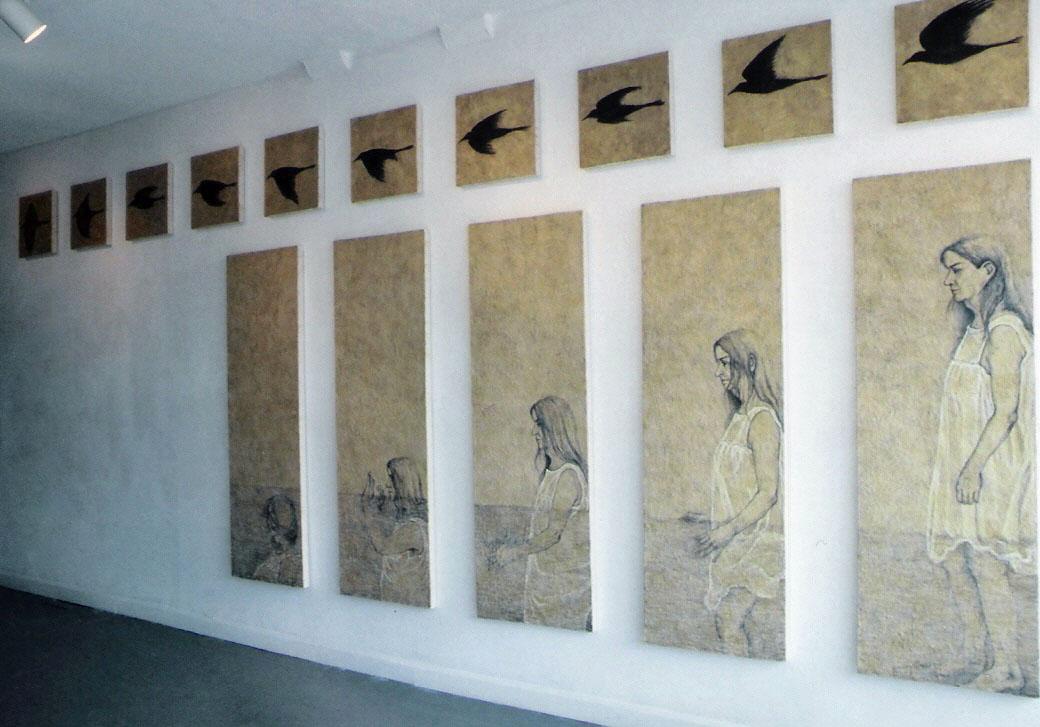 Pondwalker 1903; Encaustic and oil on canvas; installation 8'h x 20'w; 2003