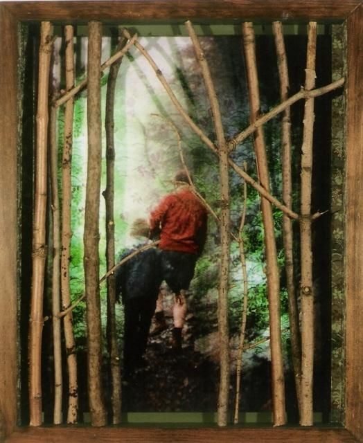 """Watkins Glen; Wood, paper, acrylic, plexiglass, photocopy, lighting; 17""""h x 14""""w x 3.5""""d; 2004"""
