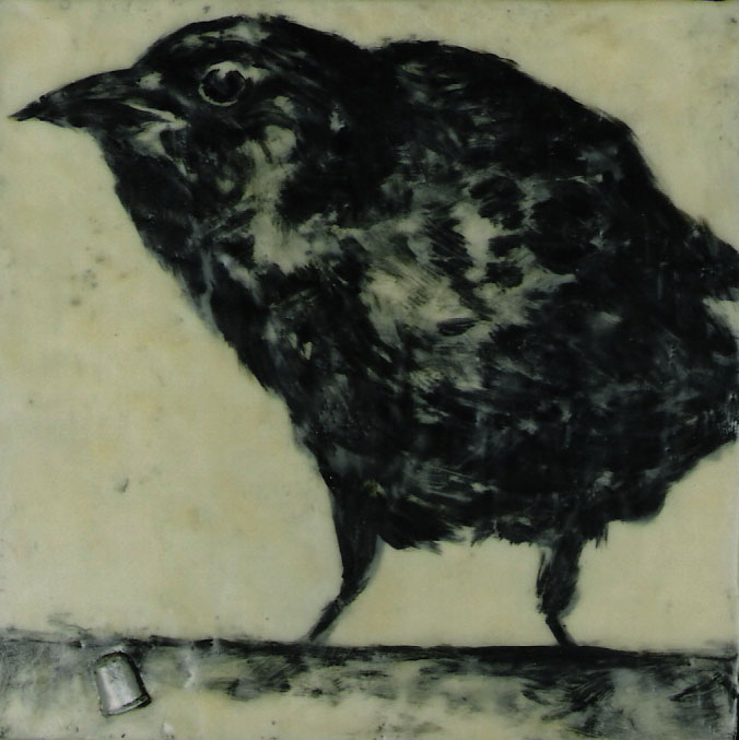"""Crow with Thimble; Encaustic and oil on canvas; 10"""" x 10""""; 2002"""
