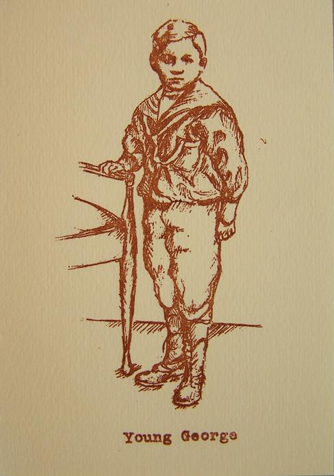 """George, going...; Paper, linen thread, screenprinted image on 92 pages; 5""""h x 3.5""""w x 1.75""""d; 2005"""