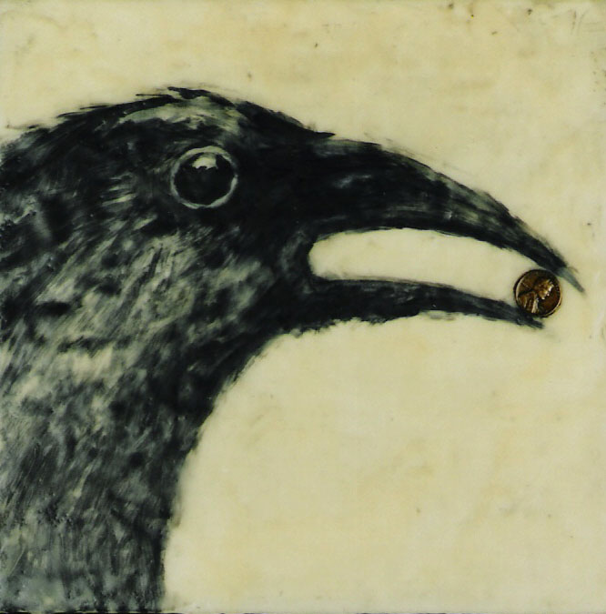 """It's a 1963; Encaustic and oil on canvas; 10"""" x 10""""; 2002"""