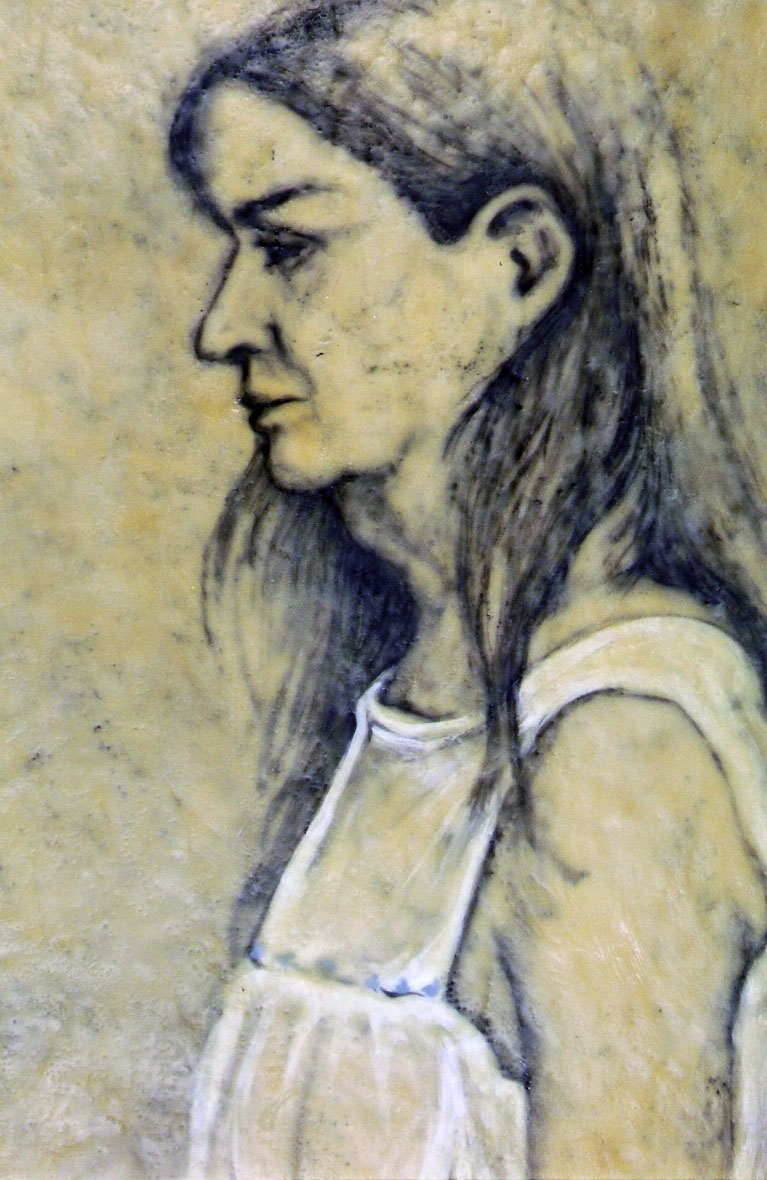 "Pondwalker 1903 (detail panel 1); Encaustic and oil on canvas; panel 68""h x 22""w; 2003"