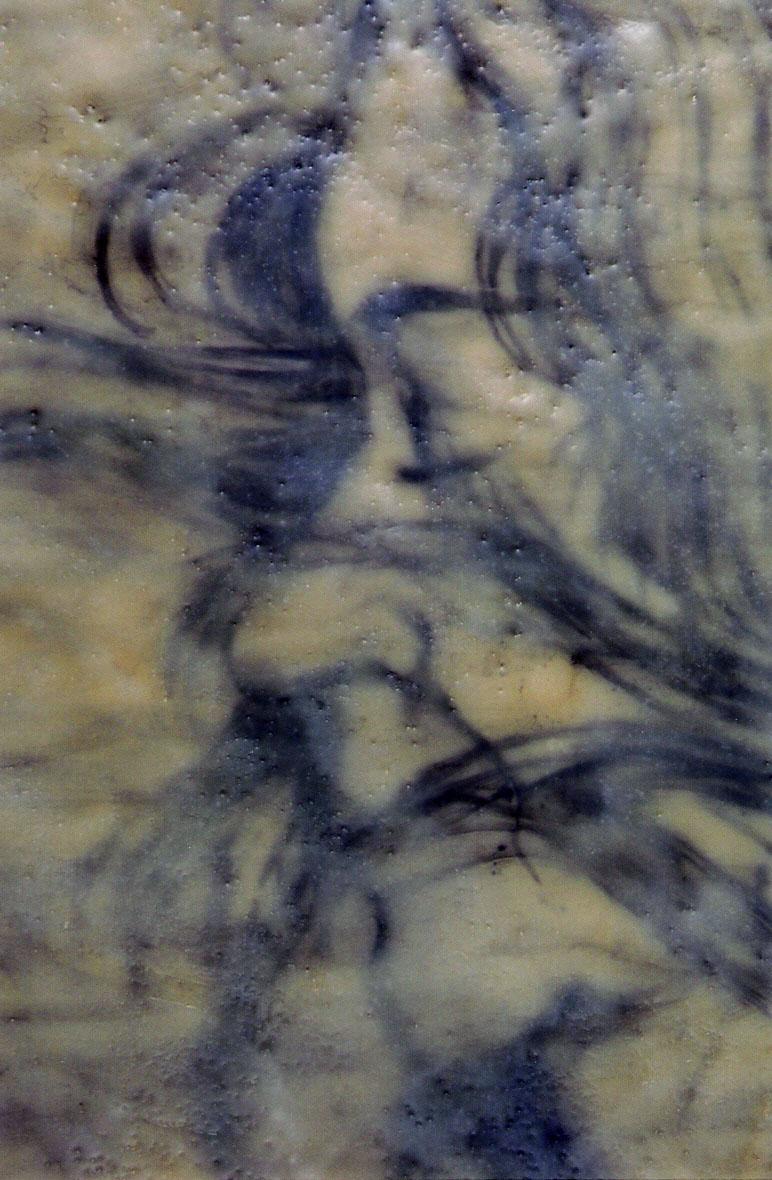 "Pondwalker 1903 (detail panel 5); Encaustic and oil on canvas; panel 68""h x 22""w; 2003"