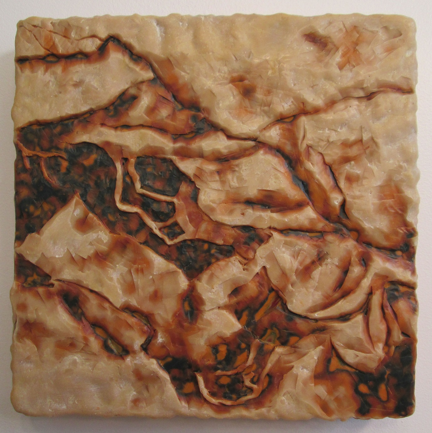 "Excavation #4; Layered and carved encaustic with oils on wooden panel; 12""h x 12""w x 2.25""d; 2001"