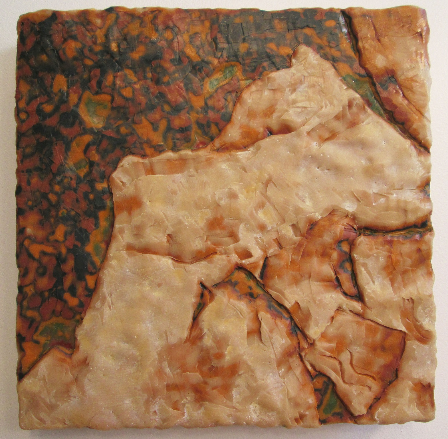 "Excavation #6; Layered and carved encaustic with oils on wooden panel; 12""h x 12""w x 2.25""d; 2001"
