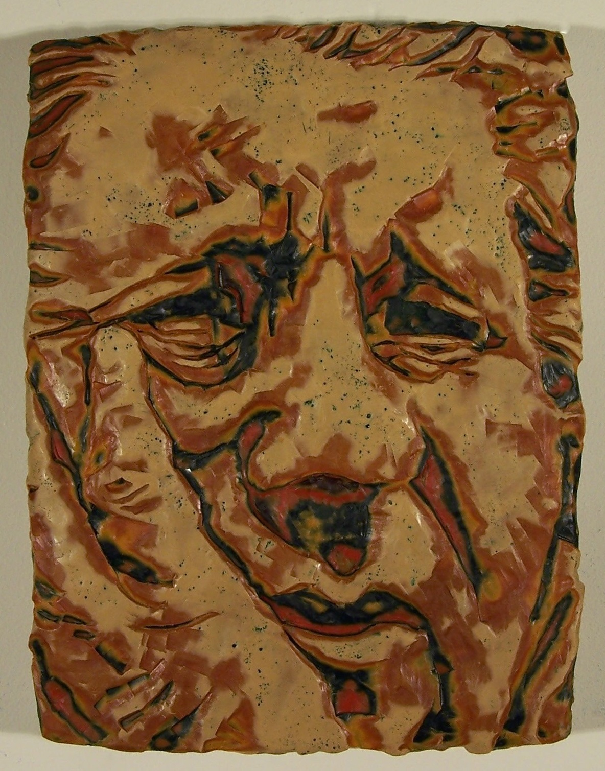"Face #22; Layered and carved encaustic with oils on wooden panel; 12""h x 9""w x 2""d; 2006"